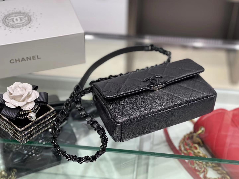 Chanel(香奈儿)2021早春度假系列 熊猫口盖包 黑色 全黑枪扣烤漆五金
