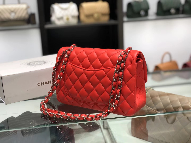 Chanel(香奈儿)cf 链条包 中号 经典口盖包 中国红 银扣 银链 23cm