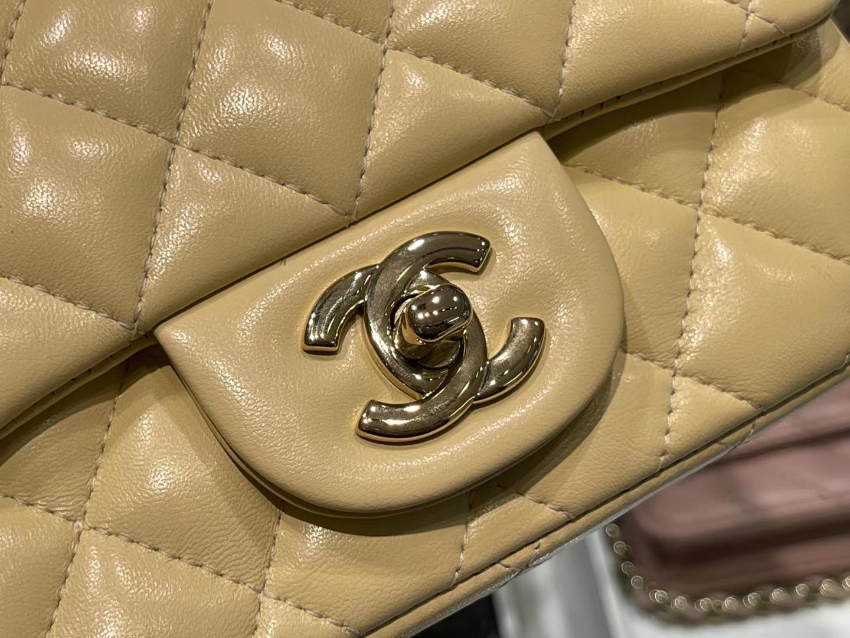 Chanel(香奈儿)最火 cf 链条包 方胖子 细球纹 柠檬黄 金扣 金链 17cm