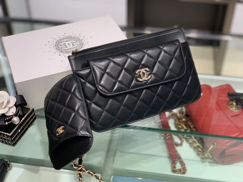 Chanel(香奈儿)新款 包包 三合一 黑色 手机包 卡包 链条包 手拿包