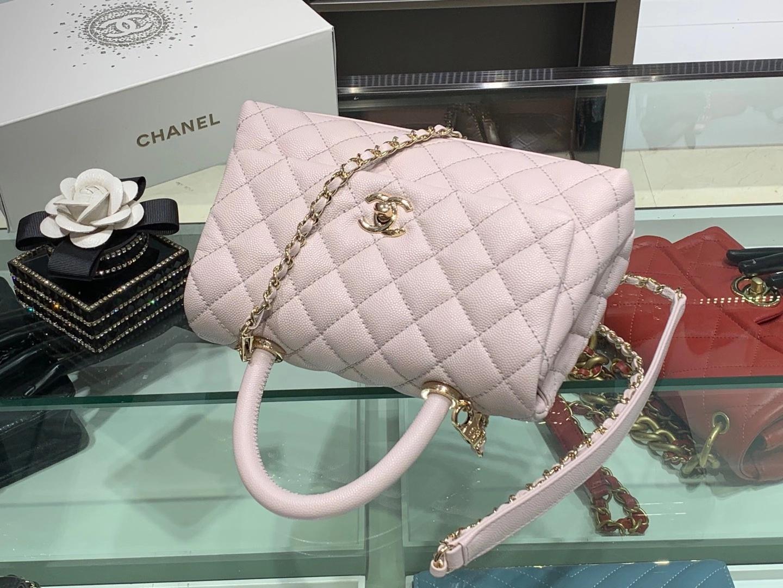 Chanel(香奈儿)coco handle 小号 菱格 淡粉色 金扣 24cm
