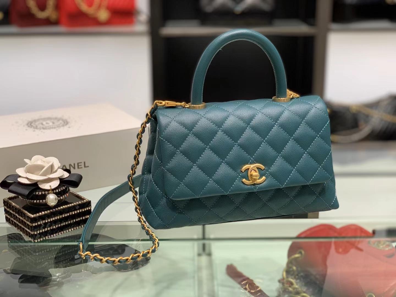 Chanel(香奈儿)coco handle 小号 菱格 湖水蓝 金扣 24cm