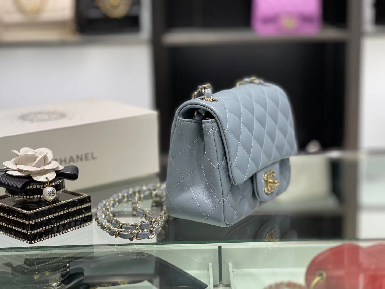 Chanel(香奈儿)最火 cf 链条包 方胖子 细球纹 雾蓝色 金扣 金链 17cm