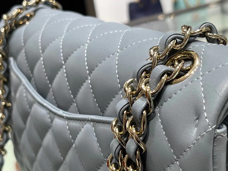 Chanel(香奈儿)cf 链条包 中号 经典口盖包 雾蓝色 金扣 金链 25cm