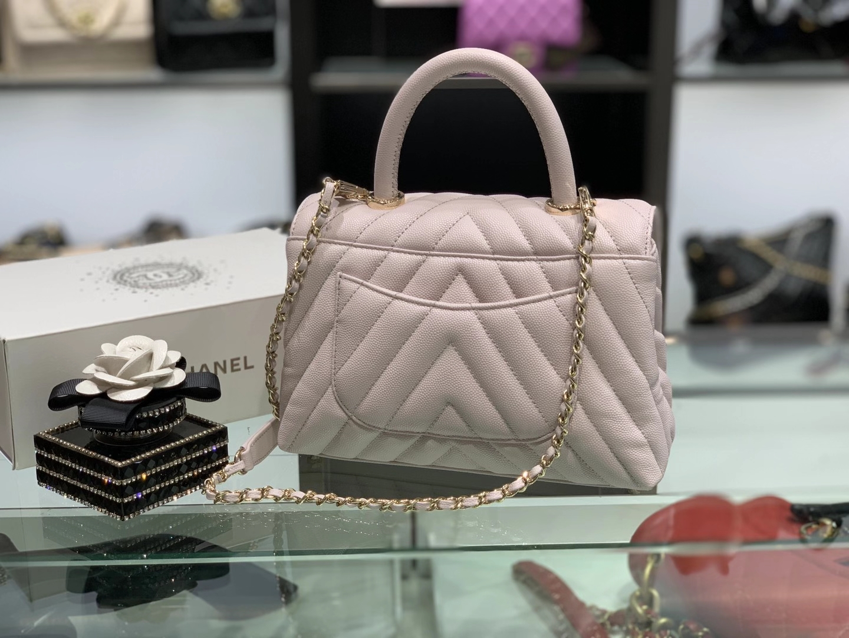 Chanel(香奈儿)coco handle 小号 V纹 淡粉色 金扣 24cm