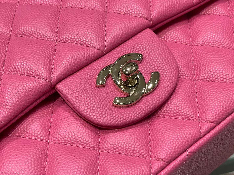 Chanel(香奈儿)cf 链条包 中号 经典口盖包 桃红色 金扣 金链 23cm