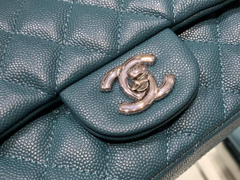 Chanel(香奈儿)最火 cf 链条包 方胖子 细球纹 靛青色 金扣 金链 17cm