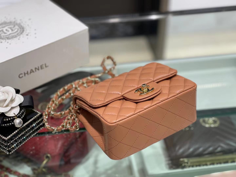 Chanel(香奈儿)Ohanel CF 链条包 棕橙色 金链 金扣 17cm