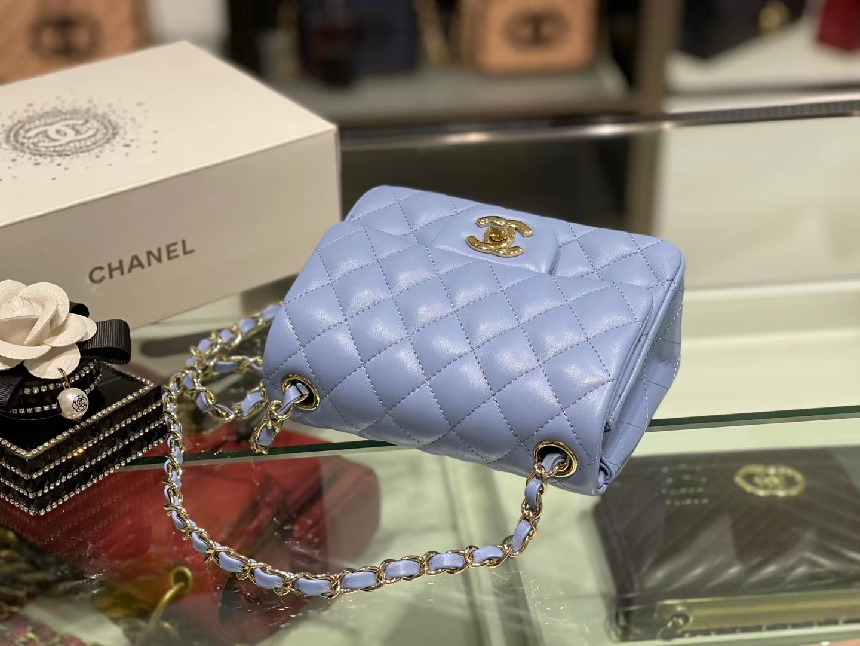 Chanel(香奈儿)Ohanel CF 链条包 粉蓝色 金链 金扣 17cm