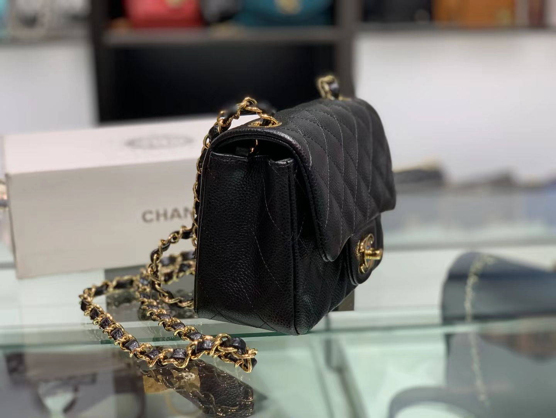 Chanel(香奈儿)Ohanel cf 方胖子 黑色 金扣