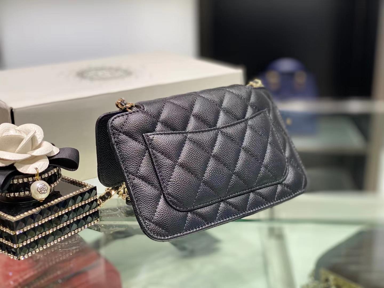 Chanel(香奈儿)Ohanel 可折叠手提环保袋 黑色 压花小牛皮 10.5×16.5×4.5