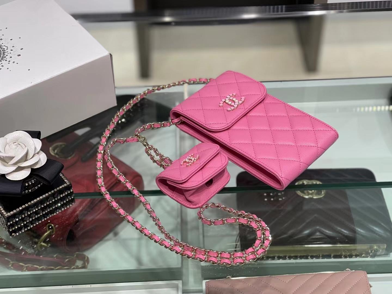 Chanel(香奈儿)2021 手机包 airpod 耳机包 桃红色 一包两用 亮漆面彩钻logo