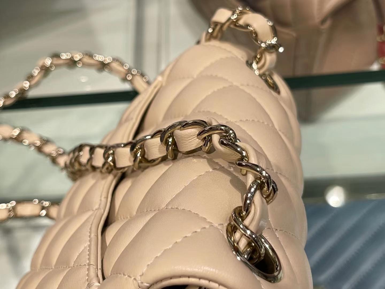 Chanel(香奈儿)Ohanel CF 链条包 米黄色 金链 金扣 17cm