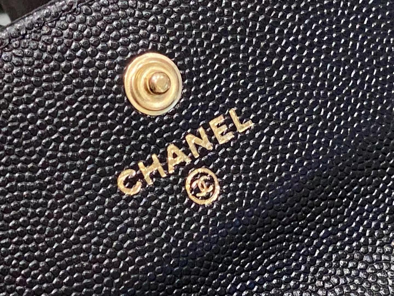 Chanel(香奈儿)Ohanel 一颗珍珠零钱包 黑色 金链 金扣