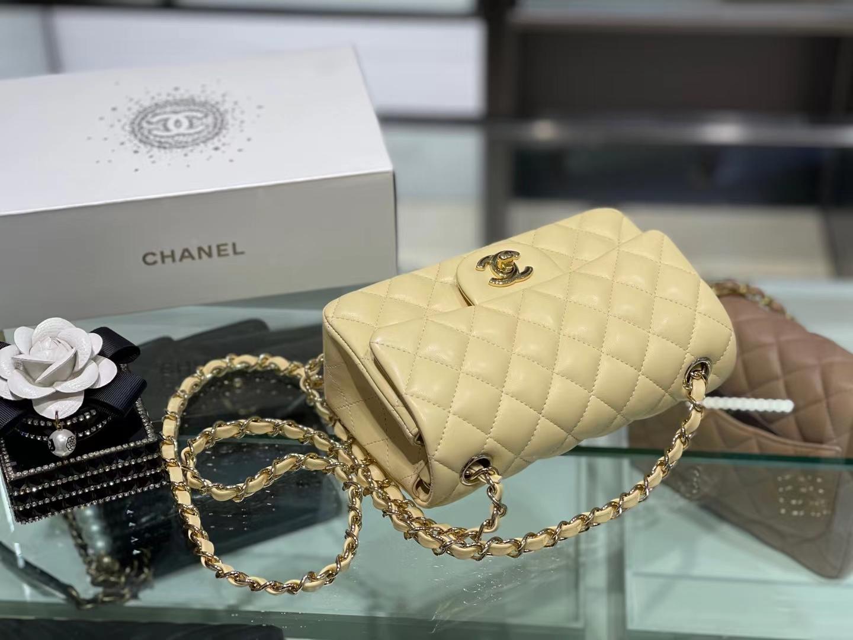 Chanel(香奈儿)Ohanel CF 链条包 柠檬黄 金链 金扣 20cm