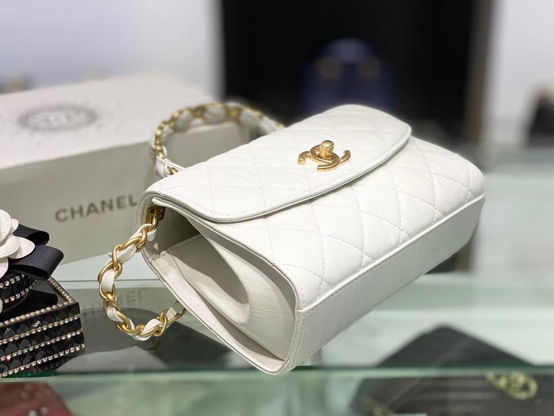 Chanel(香奈儿)2021新款 迷你手提口盖包 奶昔白 小羊皮褶皱