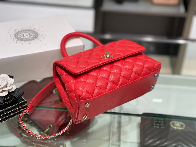 Chanel(香奈儿)𝒄𝒐𝒄𝒐𝒉𝒂𝒏𝒅𝒍 小号 中国红 金链金扣 24cm
