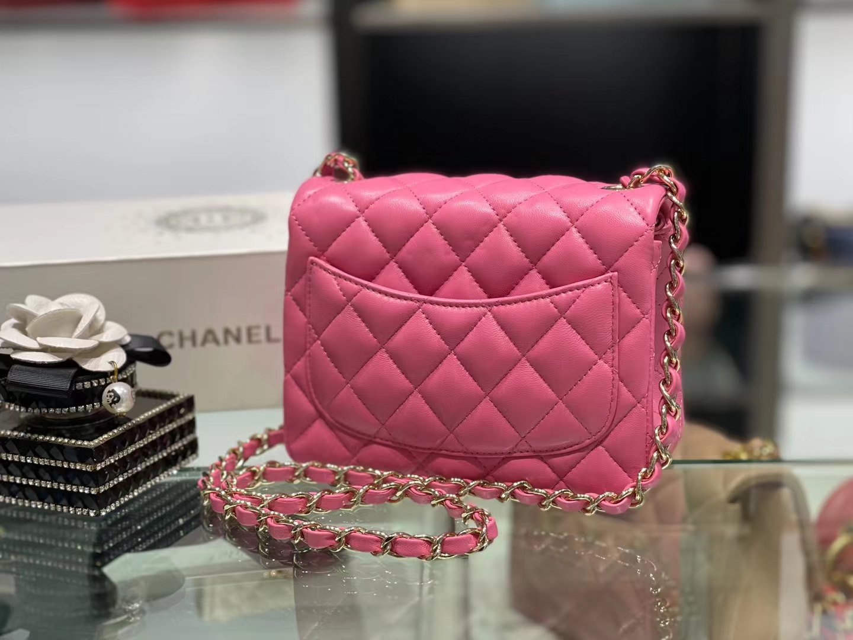 Chanel(香奈儿)Ohanel CF 链条包 玫红色 金链 金扣 17cm