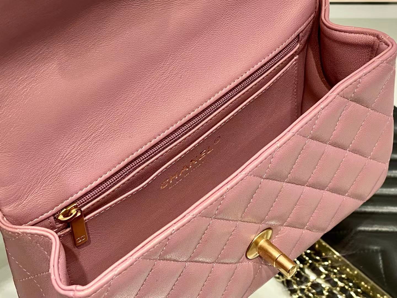 Chanel(香奈儿)2021早春包 cf mini手柄包 珠光紫色