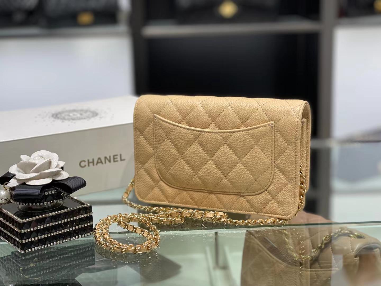 Chanel(香奈儿)woc 经典鱼子酱牛皮 鹅黄色 金扣