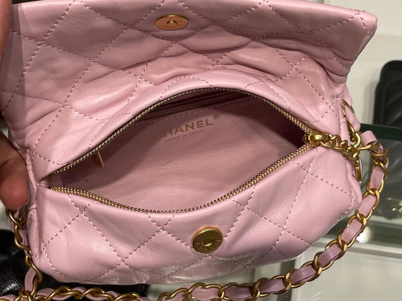 Chanel(香奈儿)Ohanel hobo 流浪饭盒包 奶昔粉 小羊皮 13×19×7