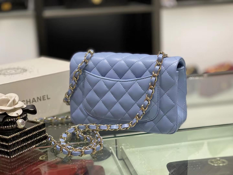 Chanel(香奈儿)Ohanel CF 链条包 粉蓝色 金链 金扣 20cm