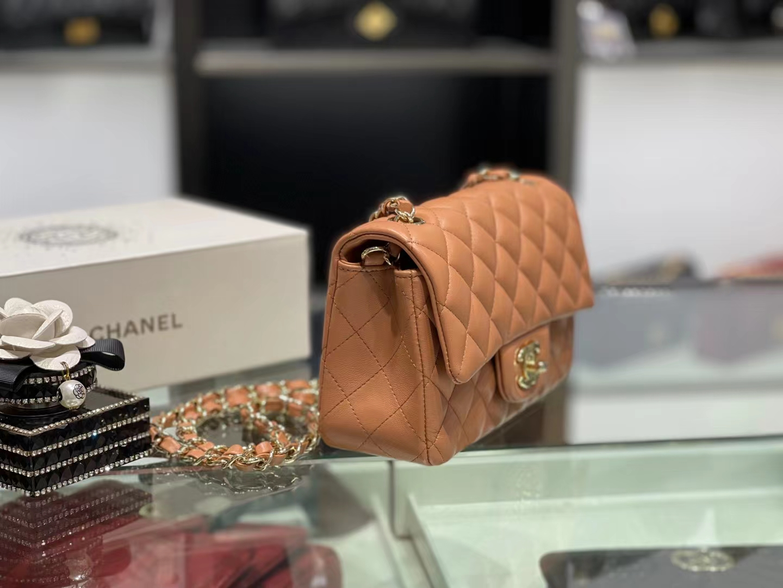 Chanel(香奈儿)Ohanel CF 链条包 棕橙色 金链 金扣 20cm