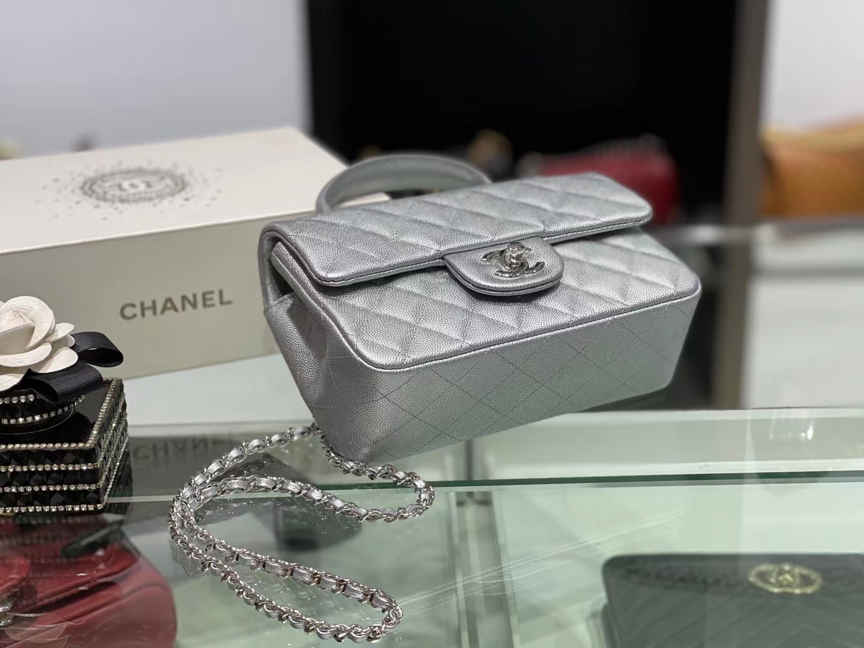 Chanel(香奈儿)2021 新款 早春 cf mini 手柄包 银灰色 金扣 金链
