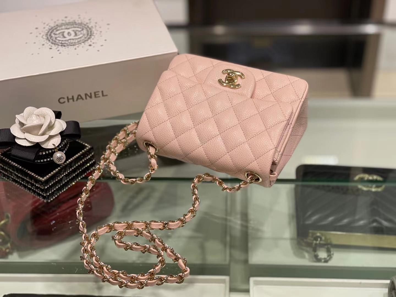 Chanel(香奈儿)Ohanel cf 方胖子 樱花粉 金扣