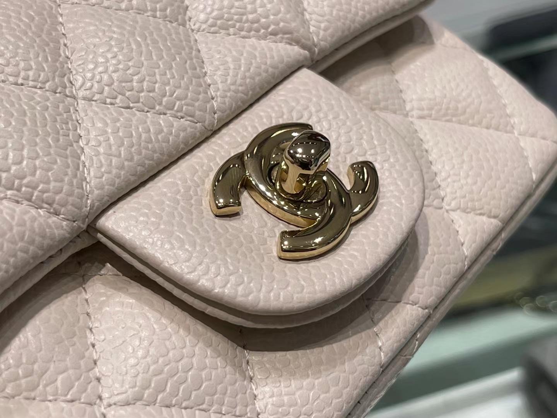 Chanel(香奈儿)Ohanel cf 方胖子 米白色 金扣
