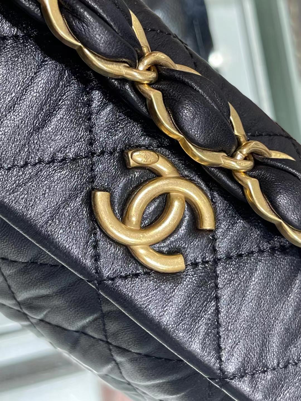 Chanel(香奈儿)Ohanel hobo 流浪饭盒包 黑色 小羊皮 13×19×7