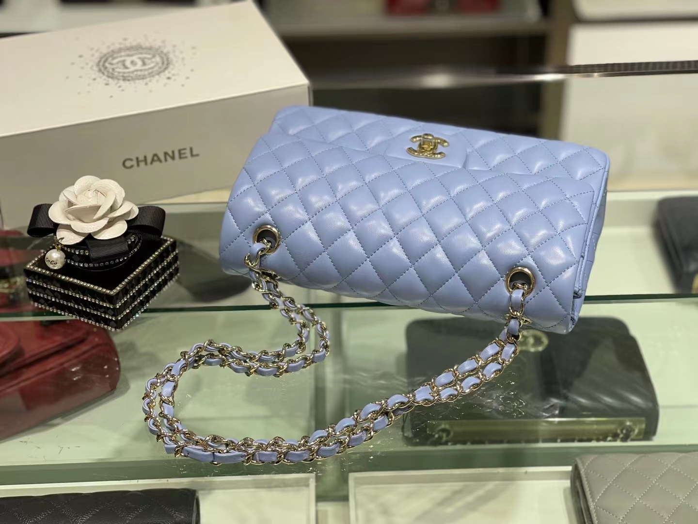 Chanel(香奈儿)Ohanel CF 链条包 粉蓝 金链 金扣 25cm