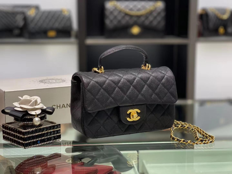 Chanel(香奈儿)2021 新款 早春 cf mini 手柄包 黑色 金扣 金链
