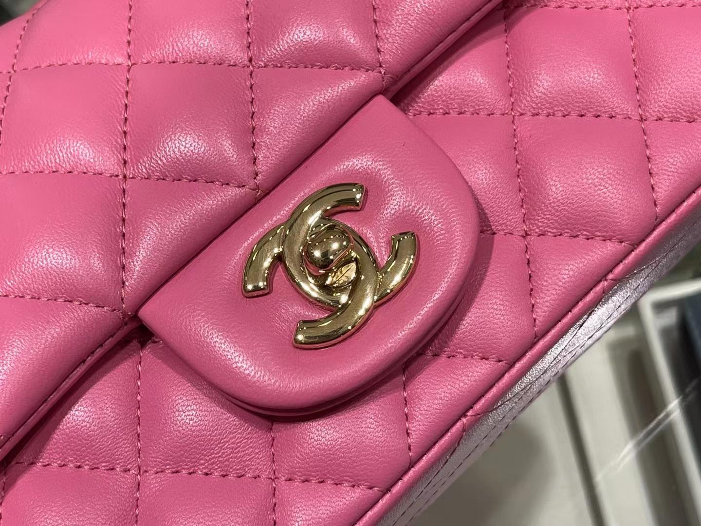 Chanel(香奈儿)Ohanel CF 链条包 玫红色 金链 金扣 20cm